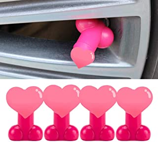 Sponsored Ad - 4 Pack Prank Valve Stem Cap, Pennis Tyre Valve Caps, Tire Cap Luminous Stem Cap (Pink)