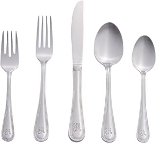 RiverRidge 46-Pc. Monogrammed Flatware, Service for 8, Beaded Pattern - H