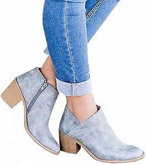 Botines Mujer Tacon Medio Planos otoño Tacon Ancho Piel Botas Botita Casual Planas Zapatos Ankle Boots 35-43 EU