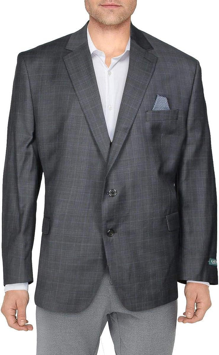 LAUREN RALPH LAUREN Mens Wool Blend Business Two-Button Blazer Gray 50R
