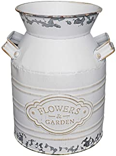 Soyizom Rustic Galvanized Vase Tin Milk Can Vintage White Jug Metal Shabby Chic Bucket Vase Decorative Jug Pot Farmhouse D...