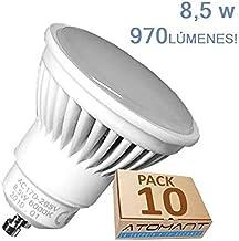 Pack 10x GU10 LED 8,5w Potentisima. Color Blanco Neutro (4500K) 970 Lumenes. Única con ángulo de 120 grados. A++