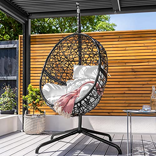 Harrier Hanging Egg Chair Swing – 2 Sizes   Indoor Outdoor Patio Garden Chair – Freestanding Rattan Egg Chair With Stand (Single Seat + Tailored Cover, Black/White)