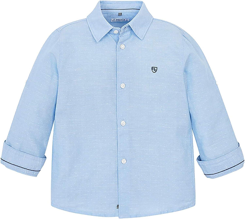 Mayoral - Basic Linen l/s Shirt for Boys - 0141, Lightblue