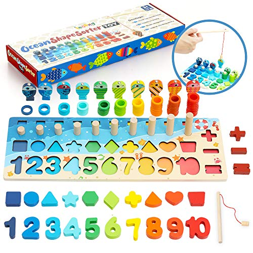 LESONG Wood Number Puzzle Sorting Montessori Fine Motor Skill Toys for Toddlers 3 4 5 Year Olds, Preschool Learning Toy Shape Sorter Counting Games for Boys & Girls – Stacking, Fishing & Sorting