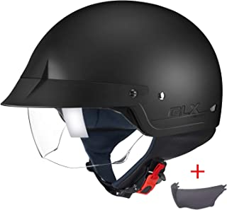 GLX Unisex-Adult Size M14 Cruiser Scooter Motorcycle Half Helmet with Free Tinted..