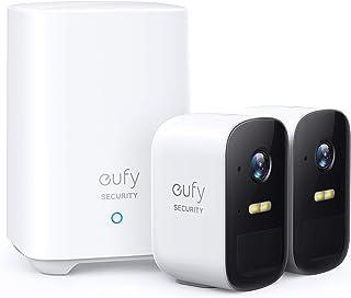 Camaras de vigilancia WiFi Interior e Exterior, Anker eufyCam 2C Sistema de Seguridad inalámbrica, 180 días batería,IP65 Impermeable, visión Nocturna, Compatible con Alexa, Conjunto de Doble cámara