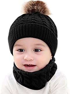 ❤️ Mealeaf ❤️ Toddler Hat and Scarf Set Baby Boys Girls Infant Newborn Cotton Knit Winter Warm Kids Wraps Cap Collar