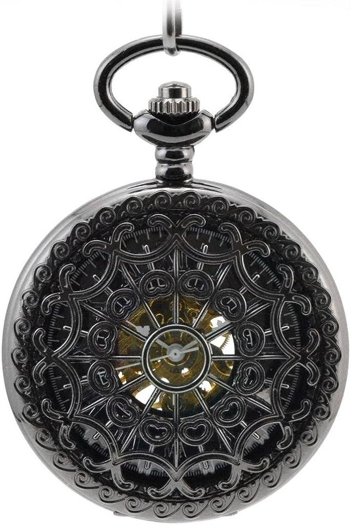 Infinite U Retro Redes de Corazones Colgante Collar Reloj de Bolsillo Mecánico