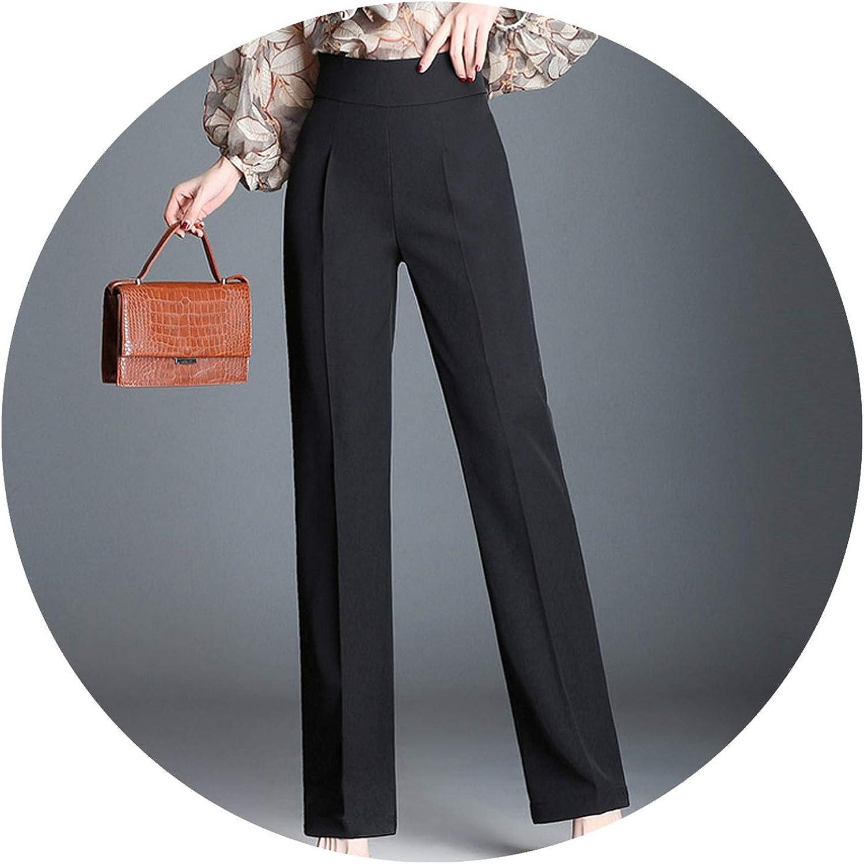 High Waist Straight Pants Wide Leg Zipper Waist Workwear Trousers Women Winter Black Office Pants