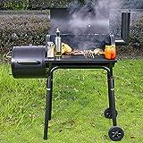 Holzkohlegrill Smoker Grillwagen Edelstahlwagen Grillkamin Temperaturanzeige Räucherofen Barbecue...