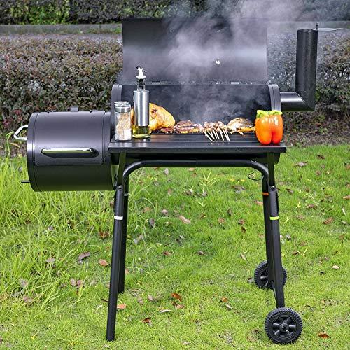 Holzkohlegrill Smoker Grillwagen Edelstahlwagen Grillkamin Temperaturanzeige Räucherofen Barbecue ,2 Rosten und Stahlblech