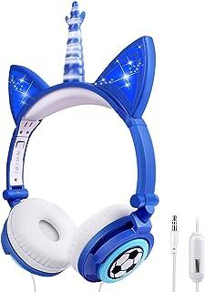 Sunvito - Auriculares de unicornio con cable para niños, plegables con luz LED brillante para la escuela, regalos de cumpl...