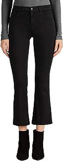 J Brand Selena Bootcut Corduroy Mid-Rise Skinny Crop, Black, 25