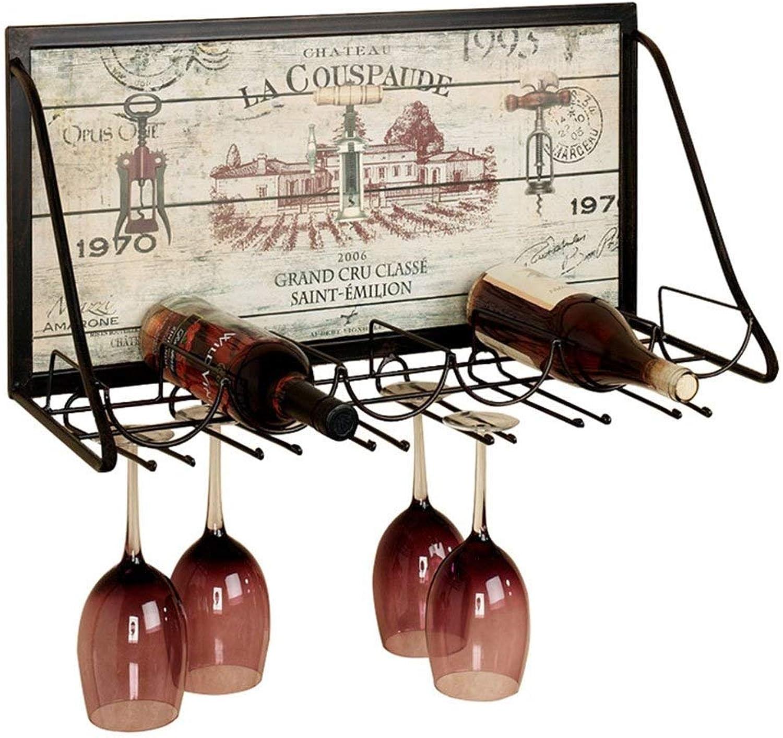 SYF Rack European Wine Glass Holder   Hanging Upside Down Wine Glass Holder Creative Wine Rack   Wall Hanging Kitchen Bottle Rack   Wrought Iron Racks High Cup Holder 65x26x40cm A+