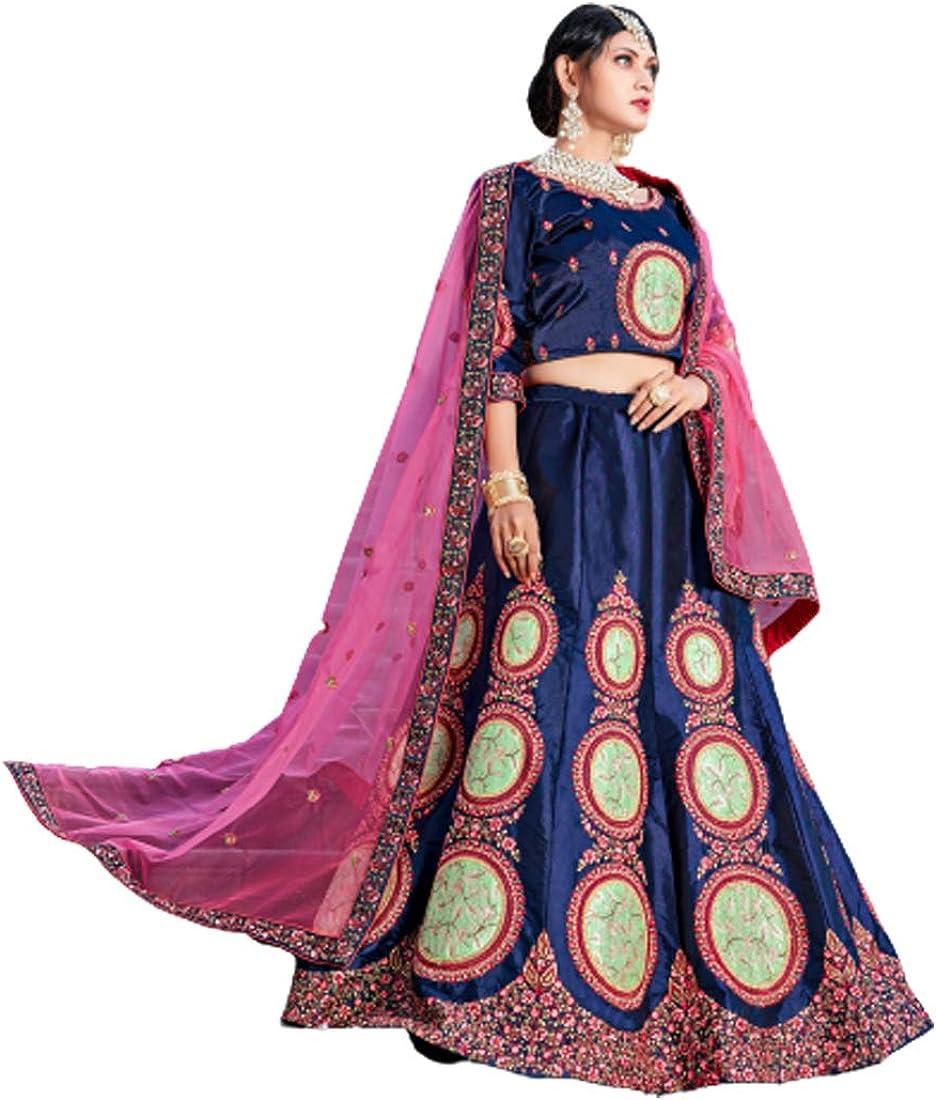 Navy Blue Pure Satin Resham Gujarati Wedding Chaniya Lehenga Choli Dupatta Indian Dress 5001