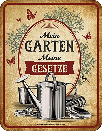 RAHMENLOS Cartel decorativo de chapa como regalo para jardineros – Mein Garten – Meine Gesetze