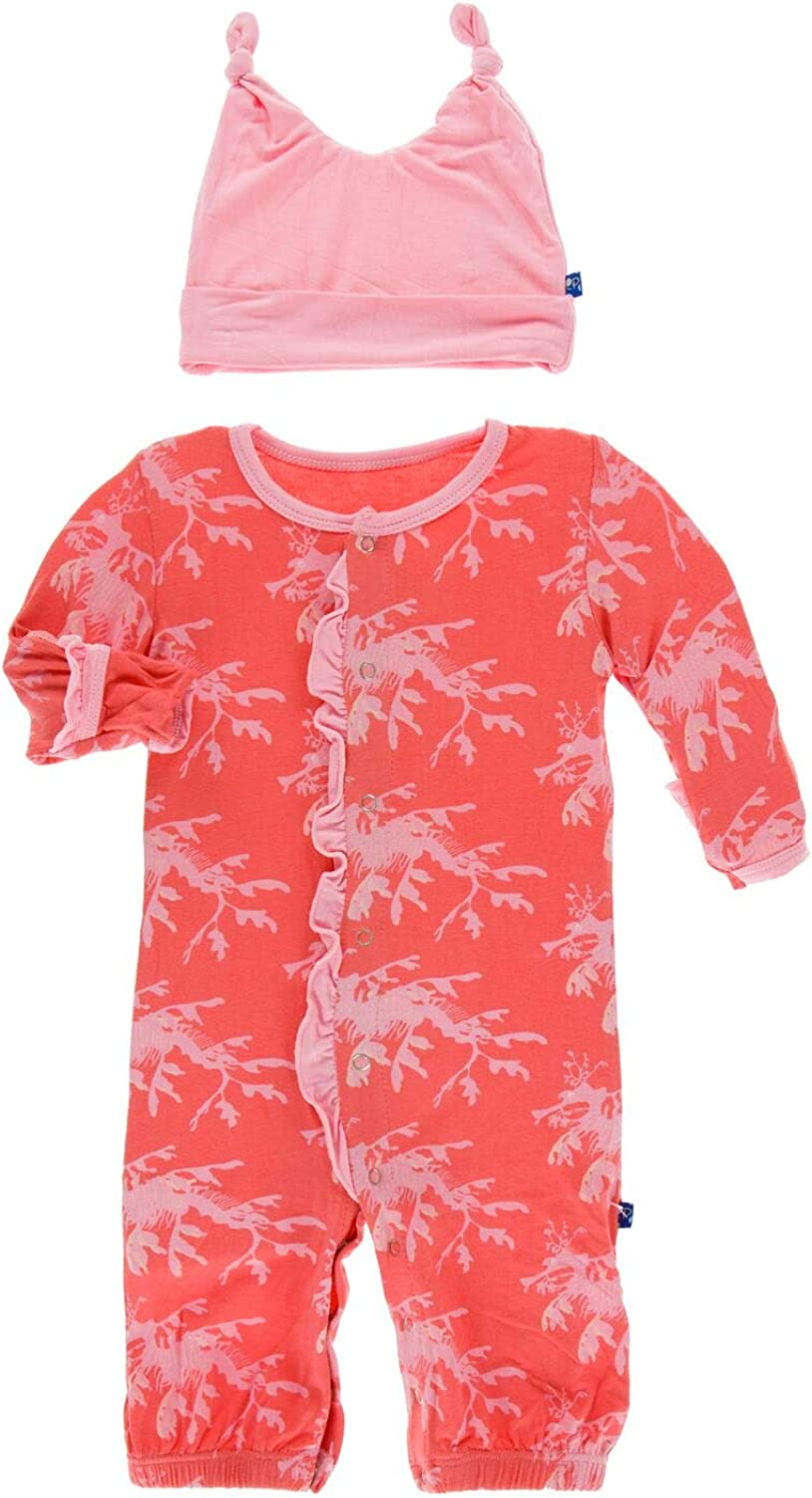 KicKee Pants Print Ruffle Layette Gown Converter and Double Knot Hat Set
