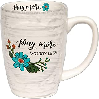 Brownlow Gifts Simple Inspirations Ceramic Coffee Mug, Pray More Worry Less