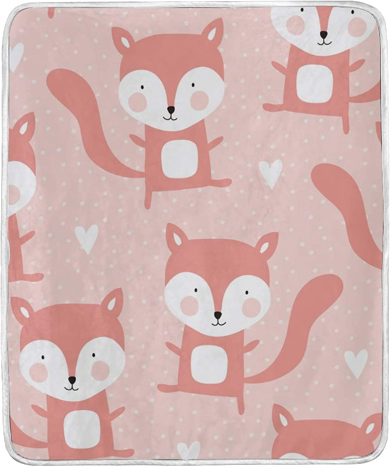 My Daily Cute Fox Cartoon Throw Blanket Polyester Microfiber Lightweight Couch Bed Blanket 50x60 inch