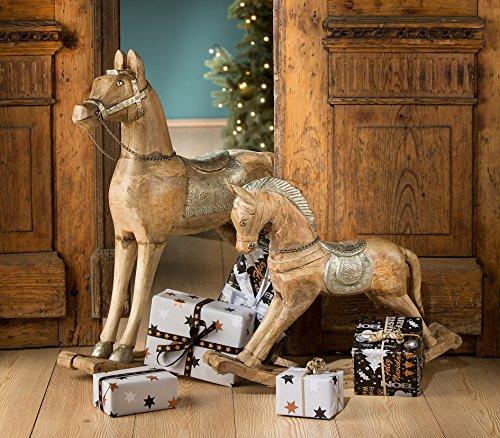 G21346, Cavallo a dondolo in legno di mango e alluminio, decorazione di Natale, 44 cm