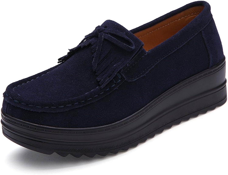 ZR826shenlan36 Womens Slip-on Tassel Suede Driving Moccasins Platform Wedges Loafers Comfort Walking shoes Dark bluee 5.5 B(M) US