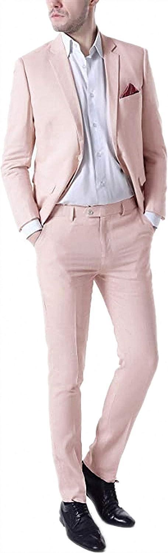 Shirleygel 2021 New Spring Summer Men's Linen Tuxedo Suit Two-Piece Fashion Wedding Dress Suit for Groom Groomsmen, Orange Pink, Large