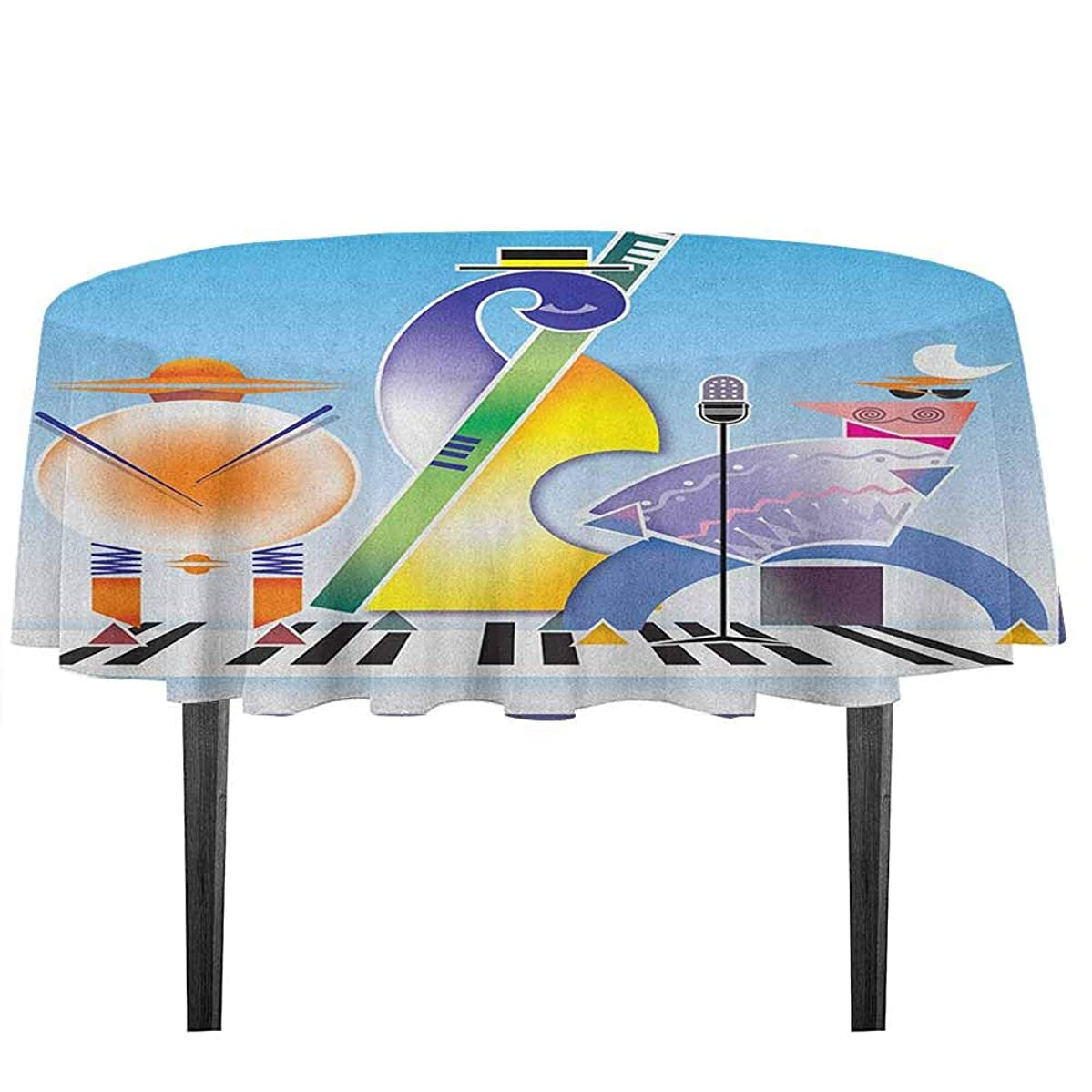 kangkaishi Music Washable Tablecloth Abstract Band of Geometric Shapes Drums Accordion Performing on Keyboard Surface Desktop Protection pad D55.11 Inch Multicolor