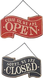 NIKKY HOME Rustic Wooden Double Sided Open and Closed Store Business Signs with Chain Hand, 11.87 x 0.37 x 10.87 Inches, Black & Red