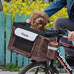 Hillwest Pet Bike Basket Bag Bicycle Front Carrier Pet Dog Bicycle Carrier Bag Basket Puppy Dog Cat Travel Bike Carrier Seat Bag for Small Dog Products Travel Accessories Brown Under 17.6lbs