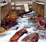 Xcmb 3D Boden Tapete Benutzerdefinierte Wasserdicht 3D Bodenbelag Pvc - Streams Wasserfall Badezimmer Schlafzimmer Gemälde 3D Wandmalereien Tapeten-120Cmx100Cm