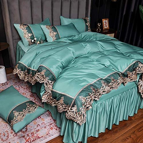 Funda nórdica y 2 Fundas de Almohada,Sistema de sábanas Set de sábanas 4 PCS 1 Funda de seda edredón 1 Seda Partida 2 Seda 2Casas de seda, suave, suave, cómoda, transpirable, adecuada para 4 temporad