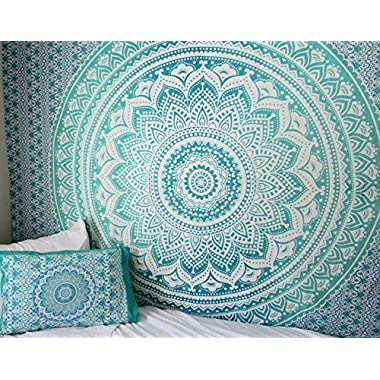 Jaipur Handloom Turquoise Twin Green Ombre Tapestry Teal Aqua Hippie Wall Tapestries Ombre Bedding Dorm Decor Mandala Tapestry Indian Mandala Wall Art Bohemian Bedspread by