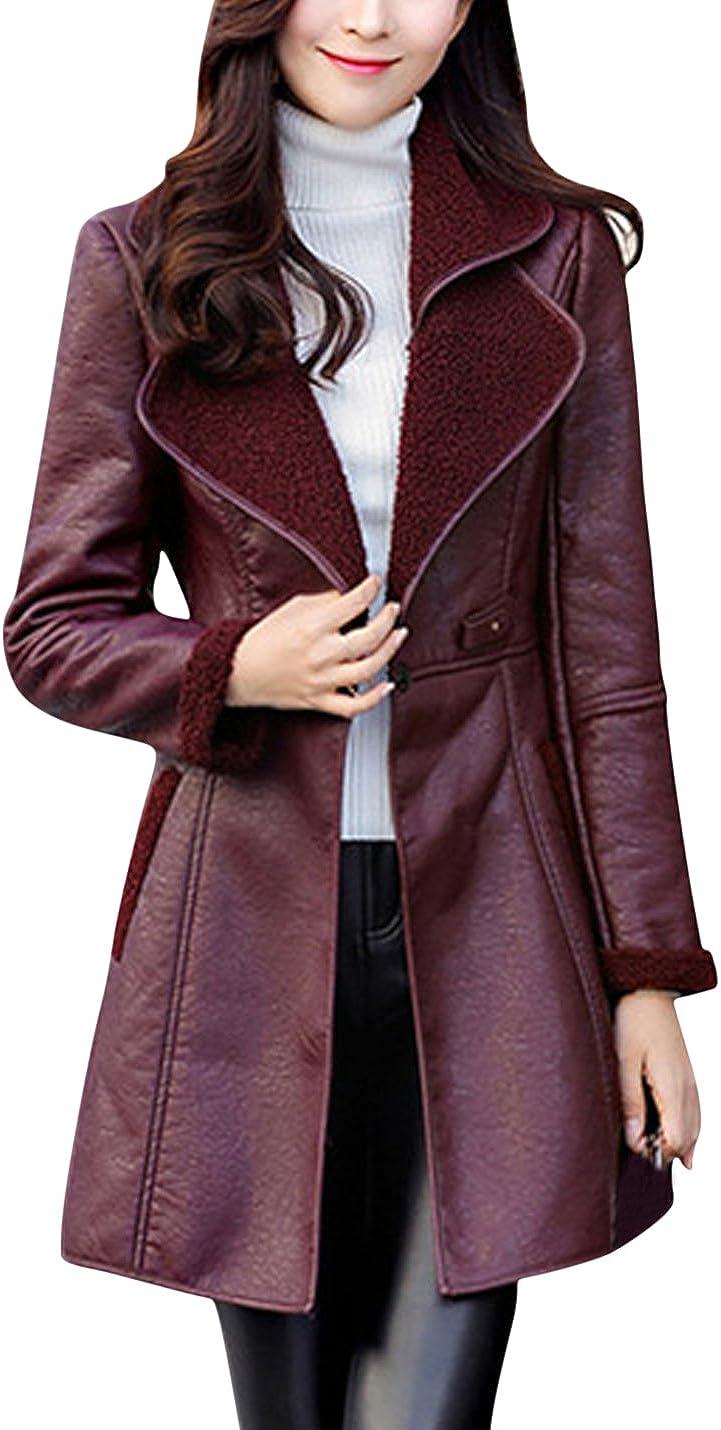 Springrain Women's Slim Notch Lapel Logn Sleeve Mid-Long Sherp-Lining PU Leather Jacket Coats