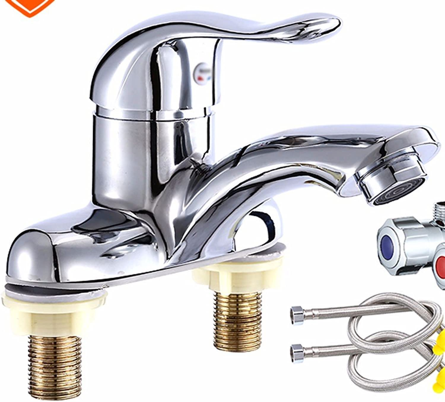 Hlluya Professional Sink Mixer Tap Kitchen Faucet Copper, hot and cold, and double-hole stretch, Washbasin Faucet 4