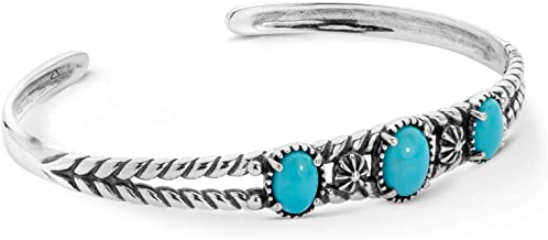 American West Sterling Silver Turquoise Gemstone Three Stone Friendship Cuff Bracelet Size Small