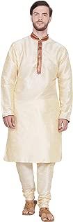 SKAVIJ Men's Tunic Art Silk Kurta Pajama Set Indian Ethnic Dress
