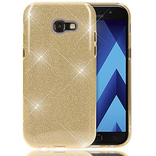 NALIA Custodia compatibile con Samsung Galaxy A3 2017, Glitter Copertura in Silicone Protezione Sottile per Cellulare, Slim Cover Case Protettiva Scintillio Telefono Bumper, Colore:Gold Oro