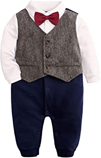 Fulision Baby Boys Fashion Long Sleeve Gentlemen Wedding Christening Rompers Jumpsuit