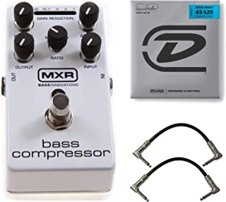 MXR M87 Bass Compressor Effects Pedal Bundle with 2 Patch Cables and Marcus Miller Super Bright Bass Strings (.045–.125, 5 Strings/Set)
