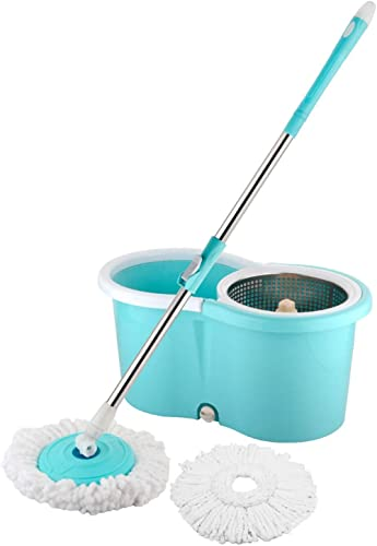 COROID Microfiber Spin Mop with Easy Wheels and Bucket for Magic 360 Degree Cleaning with Stainless Steel Wringer-2 M...