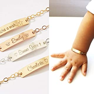Personalized Child ID Bracelets, Girl, Boy, Name, Phone number, Date, Adjustable Baby Toddler Personalized Bar, 14K Gold Filled, Rose, Silver (CG322B_1.25).