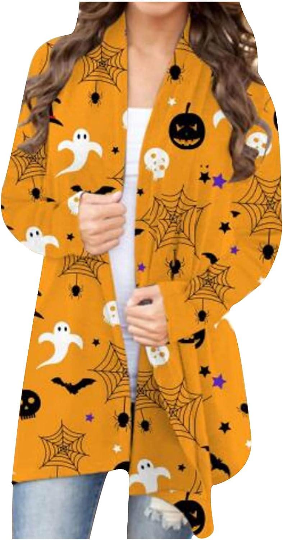 Women's Halloween Long Sleeve Open Front Cardigan Funny Cute Pumpkin Ghost Black Cat Graphic Tops Cardigan Coat Blouse