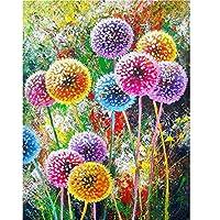 Aunkun DIY 5D ダイアモンドペインティングキット 大人用 フルドリル ラインストーン 刺繍ペイント ホームウォールデコ クロスステッチ アートナンバー (カラフルな花の十字架11.8x15.7インチ) 30x40cm グレイ a3s4g7h0