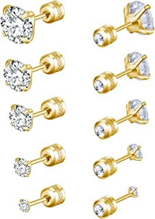Stud Earrings with Screw Backs for Women Men Stainless Steel Front and Back Cubic Zirconia Sensitive Ears Studs Earrings S...