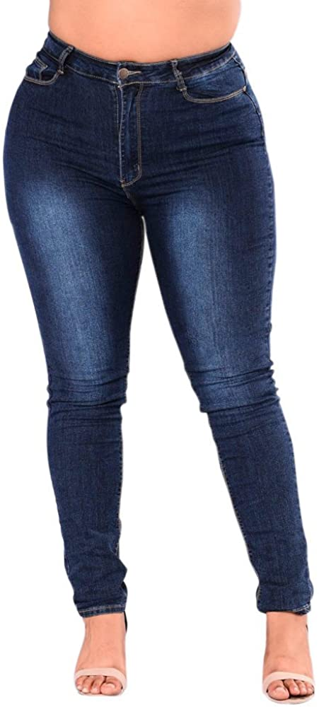 F_Gotal Womens Jeans High Waisted Plus Size Mid Rise Skinny Denim Pants Casual Pencil Pants Sweatpants Jogger Jeggings