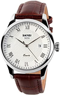 SKMEI Business Men's Quartz Wristwatches Roman Numeral Leather Band Casual Water Resist Analog Watches
