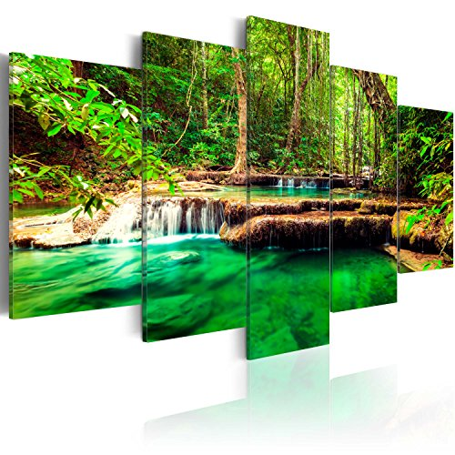 murando - Cuadro en Lienzo 200x100 cm Cascada Impresión de 5 Piezas Material Tejido no Tejido Impresión Artística Imagen Gráfica Decoracion de Pared Naturaleza Paisaje c-B-0036-b-n