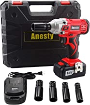 Anesty Impact Wrench, 240Nm High Torque Cordless Compact Wrench 18V 3000mAh Lithium-Ion Power Lug Nuts Impact Wrench 1/2 Inch Drive with 4 Socket and One 1/2