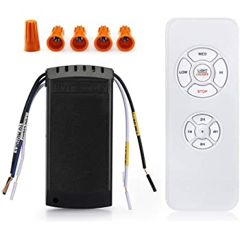 Tama/ño Peque/ño Control de luz con 4 Ajustes de Velocidad YukiHalu Opci/ón de Silencio 4 Tiempo de Cuenta Regresiva Mando a Distancia Universal para Ventilador de Techo